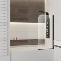 Шторка на ванну RGW SC-09B, цвет профиля черный, стекло прозрачное 70x150 (06110907-14)