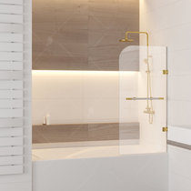 Шторка на ванну RGW SC-10, цвет профиля белый-золото, стекло прозрачное 80x150 (02111008-18)