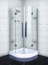 Душевой уголок Wasserfalle F-2003 90x90x190 профиль хром стекло прозрачное