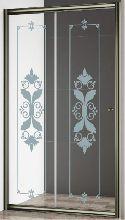 Душевая дверь Cezares GIUBILEO-BF-1-120-CP-Br стекло прозрачное с узором, профиль бронза
