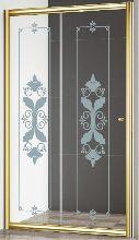 Душевая дверь Cezares GIUBILEO-BF-1-120-CP-G стекло прозрачное с узором, профиль золото