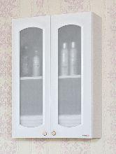 Шкаф навесной Бриклаер Анна 65 Белый со стеклянными дверками