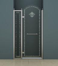 Душевая дверь Cezares RETRO-B-12-120-CP-Cr-L стекло прозрачное с узором, профиль хром