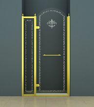 Душевая дверь Cezares RETRO-B-12-120-CP-G-L стекло прозрачное с узором, профиль золото