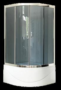 Душевой уголок Royal Bath RB100BK-G 100x100x210 профиль хром стекло матовый