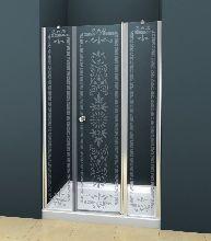 Душевая дверь Cezares ROYAL PALACE-B-13-90+60/30-CP-Cr стекло прозрачное с узором, профиль хром