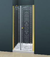 Душевая дверь Cezares ROYAL PALACE-B-11-100+90-CP-G стекло прозрачное с узором, профиль золото
