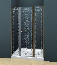 Душевая дверь Cezares ROYAL PALACE-B-13-90+60/30-CP-Br стекло прозрачное с узором, профиль бронза