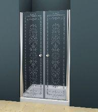 Душевая дверь Cezares ROYAL PALACE-B-22-200-CP-Br стекло прозрачное с узором, профиль бронза
