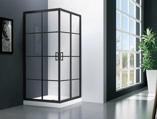 Душевой угол Veconi RV-09 90x90x195 стекло прозрачное профиль черный (RV09-90-11-C5)