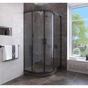 Душевой угол Veconi RV-107B 90x90x190 стекло прозрачное профиль черный (RV107B-90-01-C4)