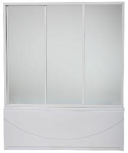 Шторка для ванны Bas 140 см 3 створчатая пластик (Тесса)