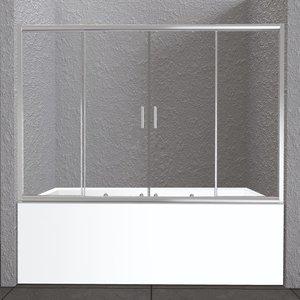 Шторка для ванны Belbagno UNIQUE-VF-2-150/180-140-P-Cr стекло матовое