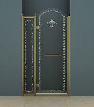 Душевая дверь Cezares RETRO-B-12-120-CP-Br-L стекло прозрачное с узором, профиль бронза