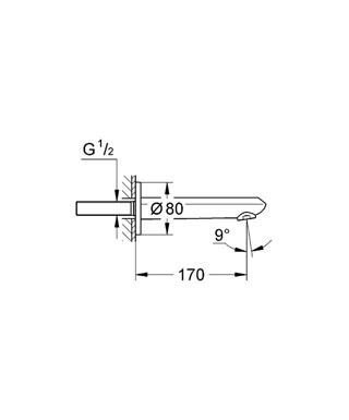 """Излив для ванны настенный монтаж GROHE StarLight хромированная поверхность аэратор внешняя резьба 1/2 """" вынос 170 мм."""