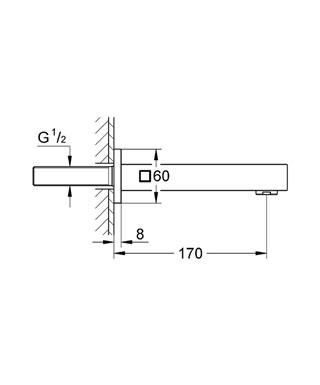 """Настенный излив настенный монтаж GROHE StarLight хромированная поверхность аэратор внешняя резьба 1/2 """" вынос 170 мм."""