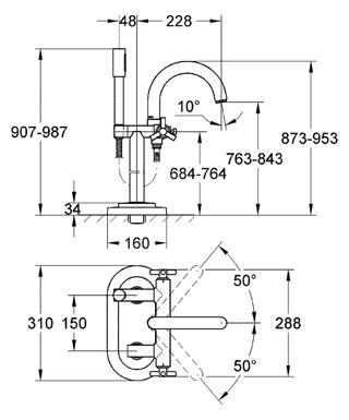"""Смеситель для ванны, 1/2 """" монтаж на полу с высокими вертикальными подключениями (765 мм) керамические вентили 1/2 """"..."""