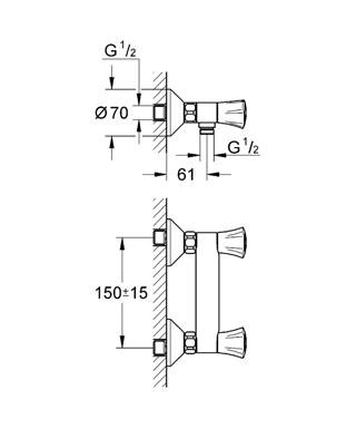 Смеситель для душа, DN 15 настенный монтаж металлические рукоятки с теплоизоляцией привинчивающаяся вентиль Longlife...