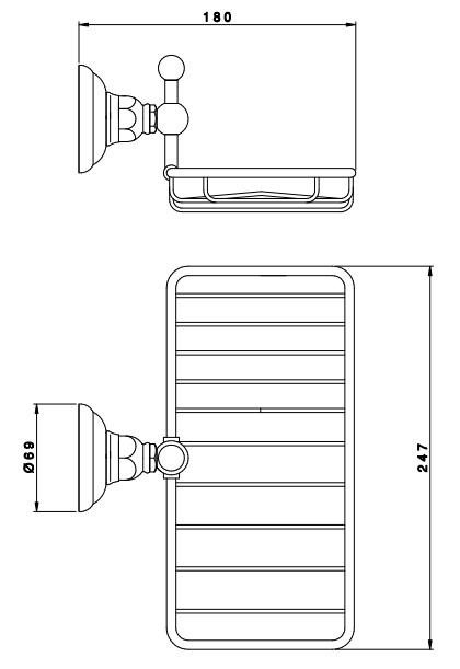 Чаша мыльницы из металла.  Схема.  Монтируется на стену.  Полочка-мыльница Nicolazzi Teide 1493CR05.  Комплектация.