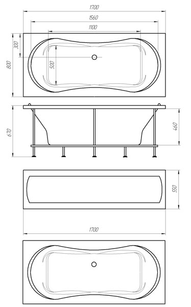 Имеет подголовники с обеих сторон, зеркальную форму чаши, слив-перелив расположенный по длинному борту ванны, все это.