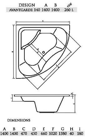 Схема.  Материал: литьевой акрил.  Угловая симметричная ванна Persefona - стильная и модная ванна, имеющая...