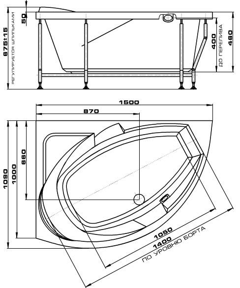 Гидромассажная ванна Radomir Фиеста, Схема установки и размеры.