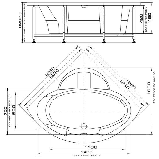Гидромассажная ванна Radomir Сорбонна, Схема установки и размеры.