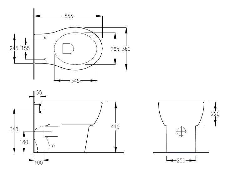Бачек Geberit для приставного унитаза 109.300.00.5.  Унитаз приставной с универсальным сливом, размер 37х55.5 см...